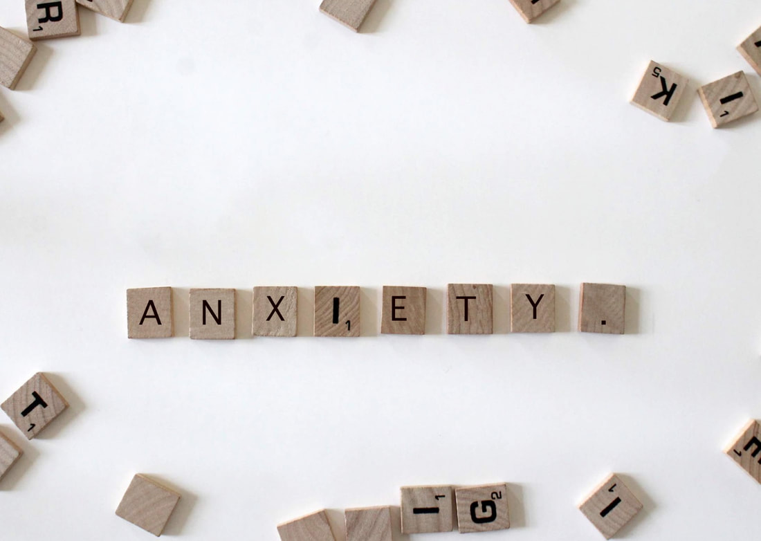 scrabble letters spelling out the word anxiety